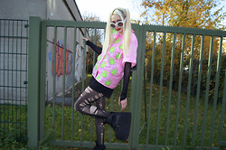 †Norelle Rheingold† - Buffalo Tower Boots, Ripped By Me Tights, Diy Weed Shirt, Diy Weed Earrings - Where is the Weed at?