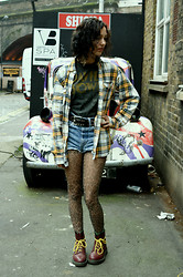 Poppy Lee Jones - Plaid Shirt, Amplified Bowie Shirt, Second Hand Leather Belt, Levi's® Levi's Shorts, Topshop Leopard Tights, Dr. Martens Doc -   don't take nothing with you but your soul