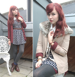 Paige Joanna Calvert - H&M Cat Print Dress, Topshop Burgundy Cardie, White Collared Shirt, Topshop Vintage Style Boots - Cat print and cosy.