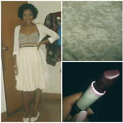 Brenda Mercado - Gray Bustier, Thrifted Pleated White Midi Skirt, White Cardigan, Dark Purple Lipstick - Dark Lipstick