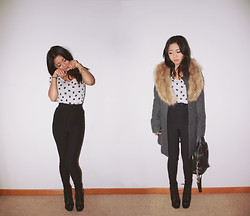 Jasmine S - Bdg Cat Tee, American Apparel Riding Pant, H&M Faux Fur Stole, Lita Spikes - You have cat to be kitten me!
