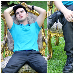 Lord Michael Angeles - Folded And Hung Polo Shirt, Personalized My Pyramid Ring, Rugged Outback Black Boots, Penshoppe Black Jeans - Like A Boss