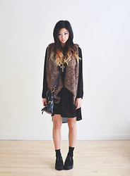 Alyssa Lau - Sheinside Faux Fur Vest, Sheinside Creepers, Sugarlips Black Dahlia Dress - Just driftwood for the sea