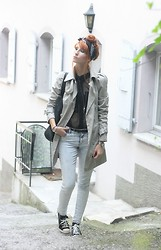 Fiona V. - Softy Trench, H&M Jean, H&M Sheer Shirt, Converse Sneakers, Colorfast Bandana - Trench & Leather Converse