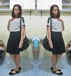 Lesly D. - Random Mall In Cebu Striped Top, Gifted Black Sling Bag, Thrifted Black Skirt, 35 Centimetres Suede Mary Janes - Black & White First Day