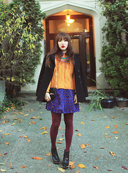 Ivy Xu - Zara Jacket, Vintage Sweater, Forever 21 Dress, Marc By Jacobs Boots, Gucci Purse - Brighten it up.