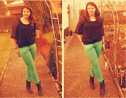 Anna M - H&M Green Pants, Zara Black Top - Make the best of every day