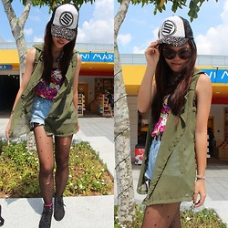 Fel Chen - Friend's Mono Cap, Bangkok Chucky Block Necklace, Greektome Military Chiffon Vest, Greektome Flora Bustier, Diy Denim Highwaist, Mini Cross Leggings, Forever 21 Pink Socks, H&M Black Basic Boots - Boy, i don't need your messy love