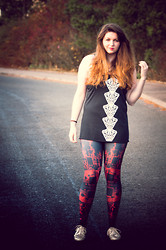 Kathryn W - Illustrated People Tank, Black Milk Clothing Circuit Red Leggings, Essex Beige Spiked Creepers - New Ombre Hair