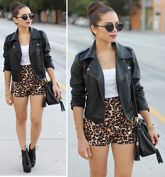 Daniela Ramirez - Leopard Shorts, Furor Moda Leather Jacket, Furor Moda Round Sunglasses, Mimi Boutique Spike Bracelet, Jeffrey Campbell Shoes - Rocker alter ego...