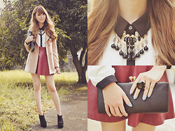 Tricia Gosingtian - Sm Accessories Necklace, Sm Accessories Clutch, Sm Accessories Ring, Cftg Skirt, Fashioncookie Shoeavenue Wedges, Indressme Coat - 111812