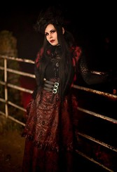 Mademoiselle Karma - Victorian Hat And Feathers, Atelier Cocon Shrug, Long Gloves, Lace, H&M Belt, Lip Service Danse Macabre Bustle Skirt (Dutchess De Sade Collection) - Blood Countess