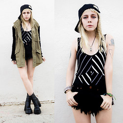 Madeline Pendleton - Volcom Tank Top, Bitching And Junkfood Shorts, Story Of Lola Jacket - Volcom & Bitching & Junkfood