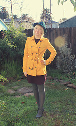 Hales Titus - Target Strapped Heels, Zara Dress, Forever 21 Trench, New York & Company Fedora - Mustard Yellow