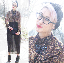 Emily High-Fash - Diy Bow Lace Turban, Goodwill Chiffon Leopard Shirt, Love Black Waterfall Necklace, Goodwill Upcycled Chiffon Skirt, Urban Outfitters Wedge Booties, Matt & Natt Clutch - I can hear the cracks of your youthful heart