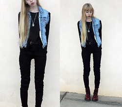 Audrey Riley - Handmade Vest, Etsy,Com Moon Necklace, H&M Sweater, Dr. Martens Cherry Red Docs - Cherry docs+cherry lips