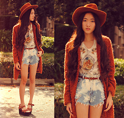 Jennifer Wang - Wasteland Fuzzy Coat, O Mighty Weekend Flower Child Cami, Paradox Handmade Bleached Shorts - WILD WEST