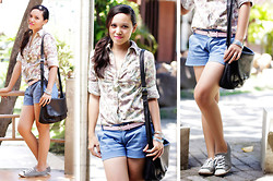 For All Things Pretty By Janjie & Jhet - Floral Polo Shirt, Blue Walking Shorts, Converse Sneakers - Rolled up