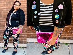 Tiffany Tucker - Simply Be Floral Pants, Yours Clothing Stripped T Shirt, Torrid Knit Moto Jacket, Asos Metallic Clutch - Mix It Up