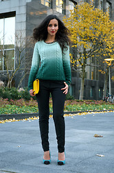 Farah E - C&A Knitted Sweater, Vanilia Pants - Ombre Green