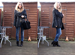 Heather Louise - Limited Collection Coat, H&M Fur Collar, River Island Bag, Topshop Boots, Next Jeans, Primark Jumper - Fur & Denim