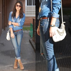 Laura Montilla - Promod Sunglasses, Pull & Bear Shirt, Pull & Bear Jeans, Casio Watch, Stradivarius Bag - Denim up and down