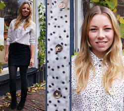 Marloes Spaargaren - H&M Necklace, Vanilia Dotted Blouse, Zara Black Boots, Only Leather - Moving dots