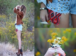 Amber Saylor - Coyote Canyon Revival Denim Studded Shorts, Wild & Free Jewelry Side Ring, Wild & Free Jewelry The Warrior Ring, Zara Fringe Jacket - Coyote Canyon Revival