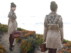 Toshiko S. - Oasap Embroidered Trench Coat, Dooney & Bourke Vintage Two Tone Leather Handbag, Bumper Cat Flats - Embroidered Trench Coat