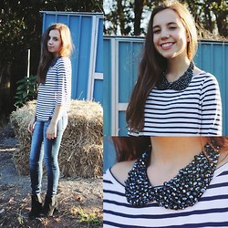 Isabella Wight - Portmans Breton Tee, Calico Sparkly Navy Collar, Indigo Rein Jeans, Miss Shop Black Ankle Boots - Stripes & Sparkles