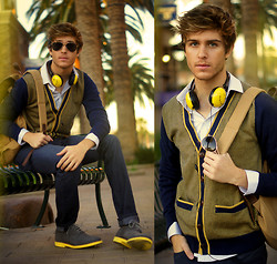 Adam Gallagher - Marc By Jacobs Headphones, Canvaslandsend Cardigan, Walkover Boots, River Island Backpack - Galla Spectrum: Yellow