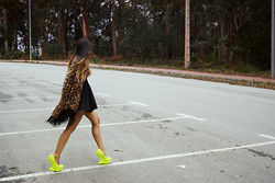 L A - Nasty Gal Leopard Kimono, Privileged Shoes Spike Neon, Asos Dress - NASTY RIDE