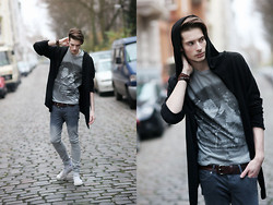 ChriS F. - Youreyeslie T Shirt, H&M Cardigan, H&M Ombre Jeans, Converse Shoes - Youreyeslie pt.2