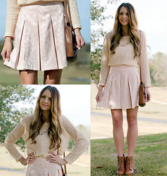 Madeline Becker - Lily White Pleated Bow Print Skirt, Lily White Sweater, Urban Outfitters Lace Up Booties, Salvatore Ferragamo Brown Messenger Bag - Pleated Bow Skirt