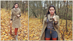 Irina Welker - Mango Coat, Mac Shorts, Tamaris Wedges, Diy Snood - A little bit cinnamon