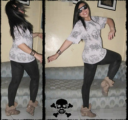 Wreyzza Swift - Thrifted Shirt, Thrifted Leggings, Wedge Sneakers, Trendphile Manila Skull Cuff - Find the Skulls! ◠◡◠