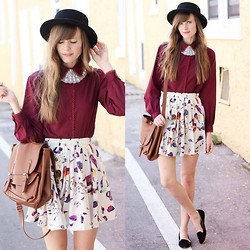 Steffy Degreff - Tea And Tulips Oxblood Blouse, Chic Wish Bird Skirt - Oxblood and birds ♥