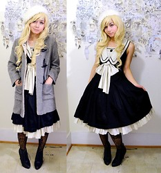 Lovely Blasphemy - Gothic Lolita Wigs Spiral Collection   Blondie, Victorian Maiden British Marine Jsk, Forever 21 Boots - British Marine