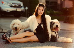 Jennifer Wang - Sugarlips Faux Fur Jacket, Target Studded Strappy Heels - DOLLY & CHARLIE