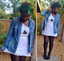 Diane A - Lace Dress, H&M Denim Shirt (Diy Studs), Love Elephant Necklace, Forever 21 Dotted Tights - Lace and Elephant