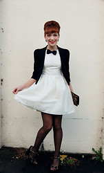 Kerry Lockwood - Ebay Black Crop Blazer, Topshop Sparkle White Prom Dress, My Brothers Black Bow Tie, Marks & Spencer 10 Denier Tights, Topshop Suede Platform Heels, Ebay Brocade Velvet Clutch, Vintage Jewel Earrings - This Is A Mans World...