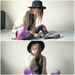 Agata P - Romwe Leggings, Cardigan, Oasap Hat - Whatever Makes You Happy