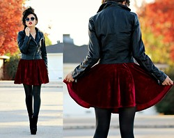 KENDALL SANCHÈZ - Faux Ban Sunglasses, Pacsun Faux Leather Jacket, Red Velvet Skirt, Pacsun Tights - .Something In The Way.