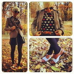 Marta Chic - Firmoo Round Glasses, Zara Blazer, H&M Blouse, Romwe Fake Leather Skirt, Second Hand Oxfords Shoes - Collage