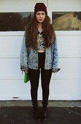 Stacey Belko - Tunnel Vision Crop Top, Tunnel Vision Jacket, American Apparel Disco Pants, Dr. Martens Boots - Sweat like a mother.