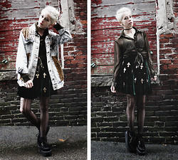 Kat W. - Romwe Leopard Patch Spiked Jacket, Wicked Vintage, Hyannis Ma Gold Sheer Button Up, Romwe Velvet Skirt, The Cultlabel Spiked Bra, Diy Destroyed Tights, Demonia Creepers - Glamabilly