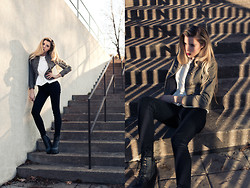 Jessy Gosselin - H&M Military Vest, H&M White Top, Smart Set Black Pants, Jeffrey Campbell Black Damsel - Take the lead