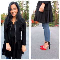 Raaz and Naazak Taghipour - By Corpus Blazer, Brandy Melville Usa Dress, H&M Leggings, Zara Heels - The Suburbs: Part 2
