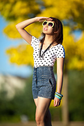 Janelle A - Asos Neon Sunglasses, High Waist Denim Shorts, Forever 21 Polka Dots Top - Summer, I miss you