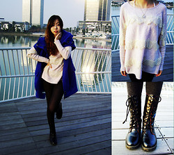 Julius Zhu - Blue Coat, Tiffany & Co. Necklace, Jc Lace Sweater, Boots - It's amazing to meet u in such a big world.